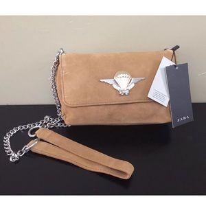 Zara women Suede Tan Shoulder Crossover Bag